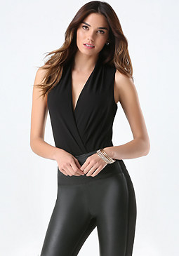 Silk Wrap Bodysuit at bebe