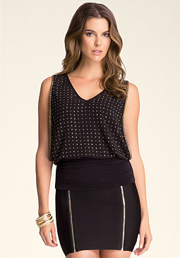bebe Studded Banded Top