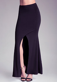 ASYMMETRIC SLIT MAXI SKIRT at bebe