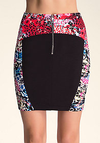 bebe Printed High Waist Skirt