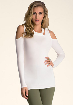 bebe Cold Shoulder Cut Out Top