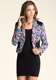 bebe Printed Fitted Jacket