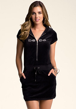 bebe Velour Hooded Dress
