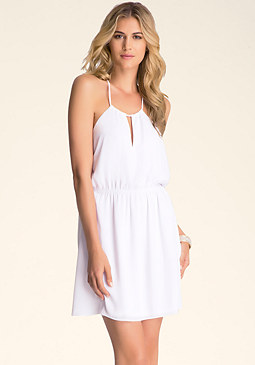 bebe Open Back Woven Dress
