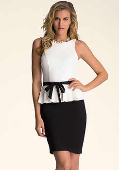 Textured Peplum Dress at bebe