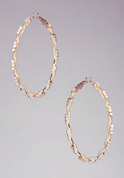 Braid Chain Hoop Earrings at bebe