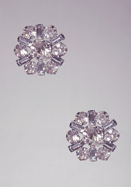 bebe Crystal Floral Stud Earrings