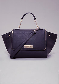 bebe Zeena Zipper Winged Satchel