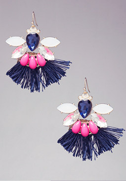 Crystal & Tassel Earrings at bebe