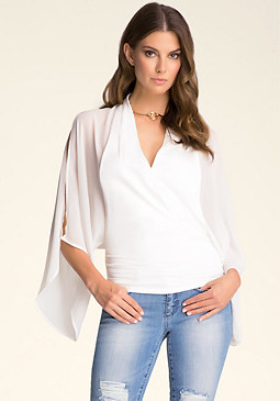 bebe Wide Sleeve V Neck Top