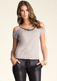 bebe Cold Shoulder Sweatshirt