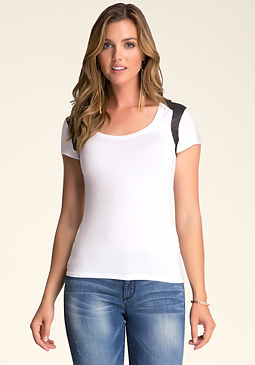 COATED JERSEY YOKE TEE at bebe