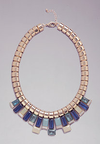 CRYSTAL OPAQUE BIB NECKLACE at bebe