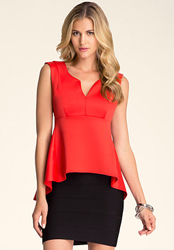 bebe Sleeveless Peplum Top