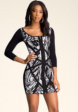 bebe Marble Jacquard Dress