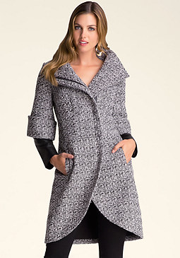 bebe Whitney Tweed Tulip Coat
