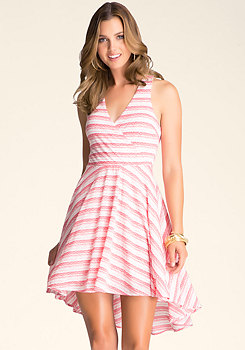 bebe Hi-Lo Stripe Dress