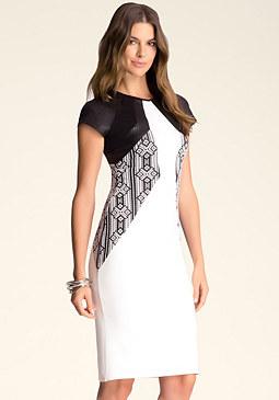 bebe Contrast Midi Dress