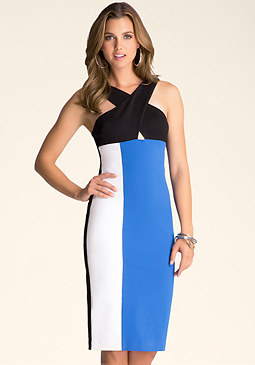 bebe Peek-A-Boo Midi Dress
