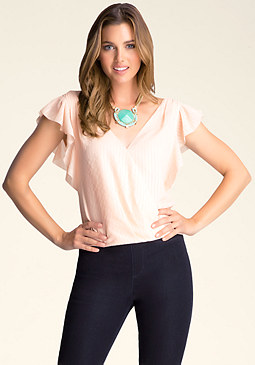 bebe Flutter Sleeve Top