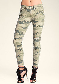 CAMOUFLAGE SKINNY JEANS at bebe