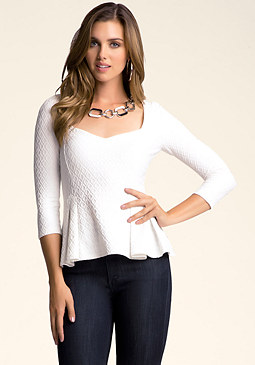 bebe 3/4 Sleeve Peplum Top