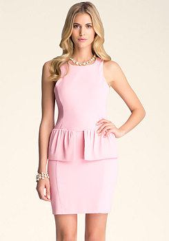 bebe Newton Peplum Crepe Dress