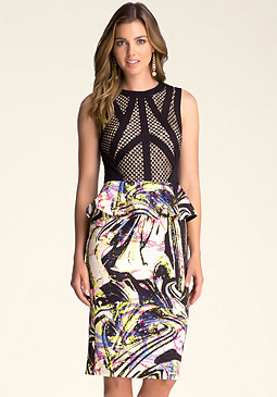 MIXED FABRIC PEPLUM DRESS at bebe