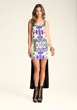 bebe Printed-Panel Hi-Lo Dress