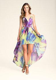 bebe Pleated Hi-Lo Dress