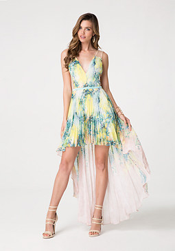 bebe Pleated Hi-Lo Dress