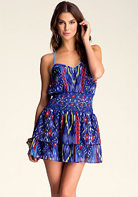 Smocked Waist Halter Dress at bebe