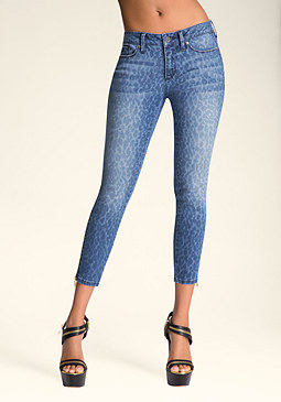 LEOPARD CROP JEANS at bebe