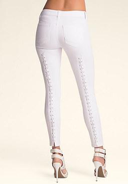 Lace Revolver Skinny Jeans at bebe