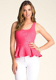 Rose Textured Peplum Tank at bebe