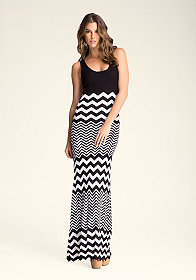 bebe Zig Zag Stripe Maxi Dress