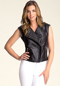 bebe Christina Leather Vest