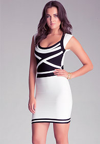 CAP SLEEVE BANDAGE DRESS at bebe
