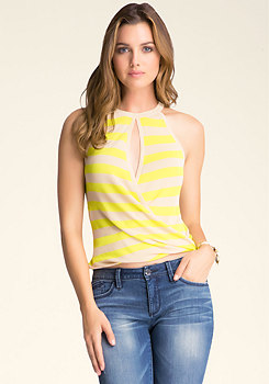 Twist-Hem Striped Sweater Top at bebe