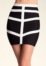 bebe Colorblock Bandage Skirt