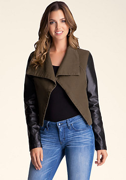 bebe Twill Mixed Contrast Jacket