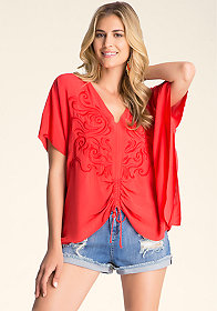 bebe Embroidered Kaftan