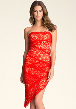 STRAPLESS LACE DRESS at bebe