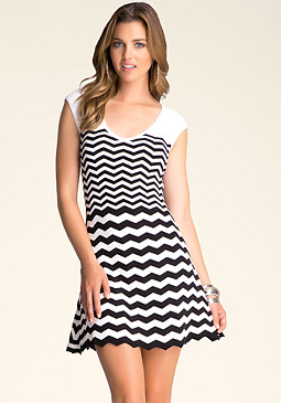 bebe Zig Zag Flared Tank Dress