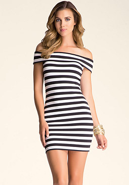 bebe Off Shoulder Jersey Dress