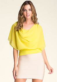 Cowl Neck Banded Top at bebe