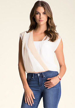 bebe Colorblock Surplice Top