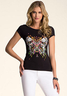 bebe Short Sleeve Slash Top
