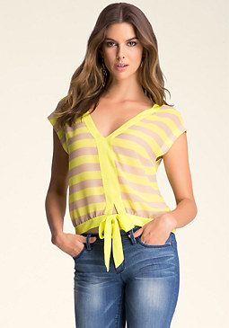 bebe Sleeveless Tie-Front Top