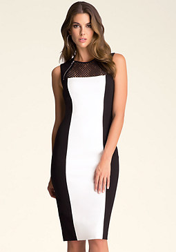 bebe Colorblock Lace Midi Dress